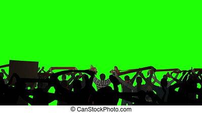 écran, posé couches, vert, foule
