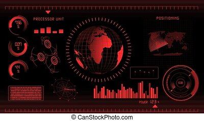 écran, rouges, interface