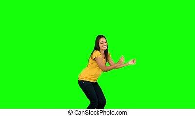écran, sauter, femme, vert