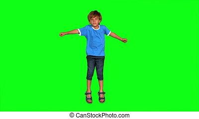 écran, sauter, vert, garçon