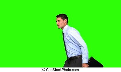écran, sauter, vert, homme affaires