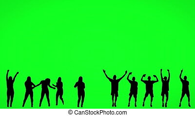 écran, silhouette, gens, danse, vert