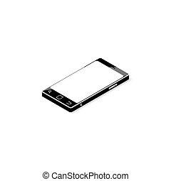 écran, smartphone, noir, vide