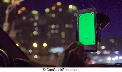 écran, smartphone, vert, holder.