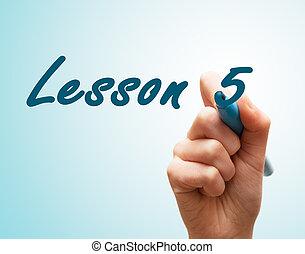 écran, stylo écriture, 5, mains, leçon
