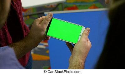 écran, téléphone, vert, présentation, tenue, réunion, intelligent, homme