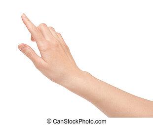 écran tactile, doigt, virtuel, isolé