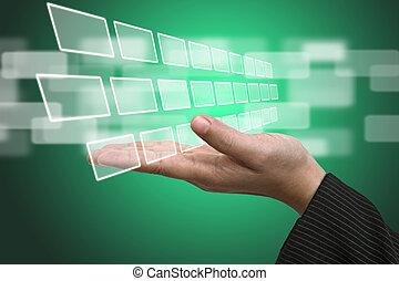 écran, technologie, entrée, interface