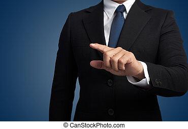 écran, toucher, imaginaire, homme affaires