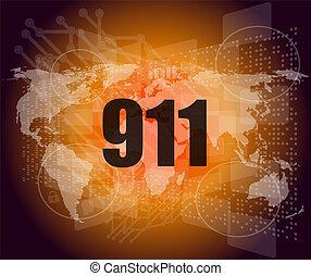 écran, toucher, mots, numérique, interface, 911