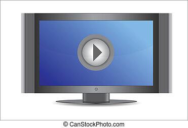 écran tv, jeu, bouton