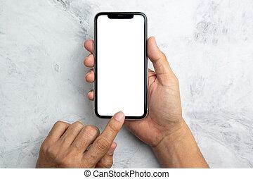 écran, utilisation, main, téléphone, blanc, vue, sommet, intelligent