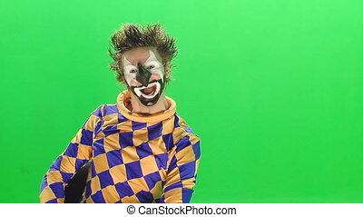 écran, vert, clown