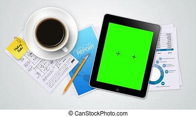 écran, vert, diapo, tablette, exposition
