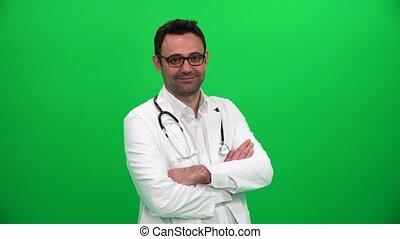 écran, vert, docteur