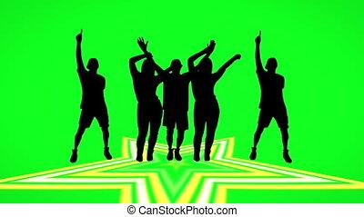 écran, vert, gens, danse, silhouette