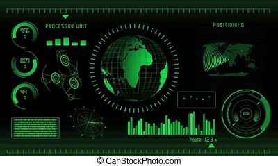 écran, vert, interface