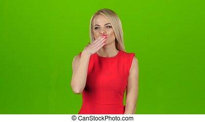 écran, vert, kisses., blond, donne, robe, rouges, dehors