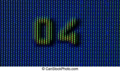 écran, vidéo, nombres, 1, fin, bleu, counted., pixels, haut., tv, 10, playback, macro., fonctionnement, fond, couleur