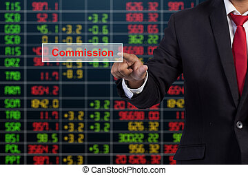 écran, virtuel, signe, commission, toucher, homme affaires, main