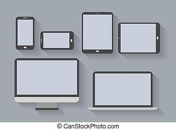 écrans, électronique, appareils, vide