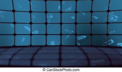 écrans, faire boucle, ensemble, balle, virtuel
