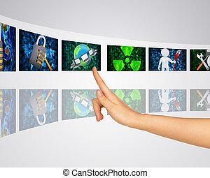 écrans, protection, information., virtuel