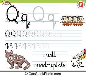 écrire, gosses, worksheet, q, comment, lettre