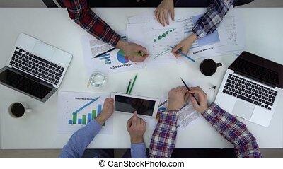 écrire, travail, business, tablette, gens