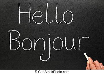écrit, bonjour, blackboard., bonjour, francais
