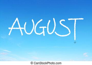 écrit, ciel, août