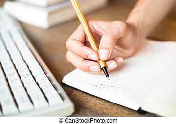 écrit, clavier, arrière-plan., ordinateur stylo, cahier, mains