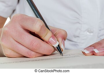 écrit, contrat, main, stylo, fontaine, sous