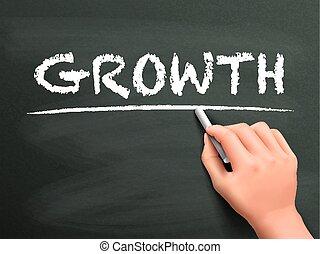 écrit, croissance, mot, main