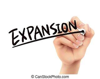 écrit, expansion, main