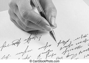 écrit, femme, lettre, manuscrit
