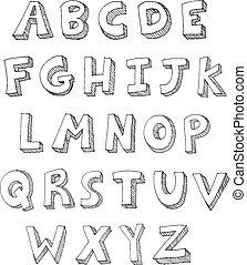 écrit, lettres, main