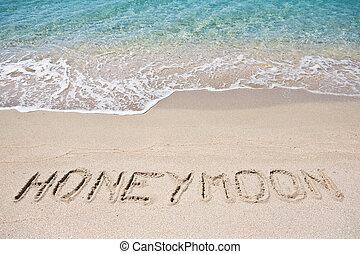 écrit, lune miel, sable