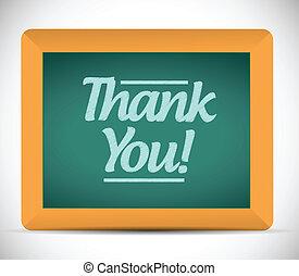 écrit, vous, message, remercier, tableau