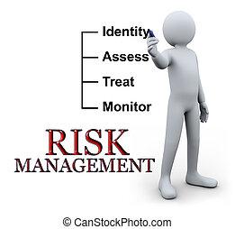 écriture, 3d, homme, gestion, risque