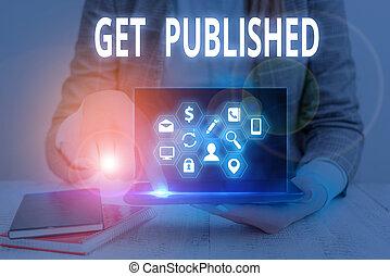 écriture, business, littérature, concept, vue., published., public, texte, matériel, disponible, faire, mot, obtenir