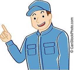 écriture, ceci, explique, usures, coveralls.-, couleur, mécanicien, dessin ligne, homme, casquette, pointage, jeune, coloration, illustration, main, rugueux, style, quoique, finger.