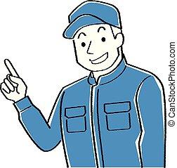 écriture, ceci, explique, usures, coveralls.-, mécanicien, dessin ligne, homme, casquette, pointage, jeune, coloration, illustration, main, noir, rugueux, style, quoique, finger.