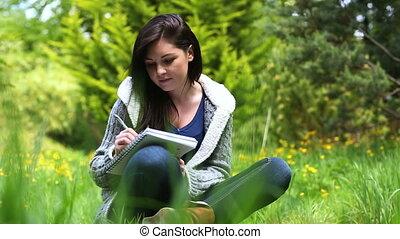 écriture, femme, herbe, séance