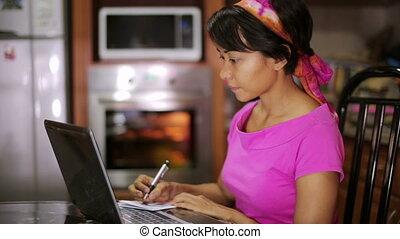 écriture, femme, recette, internet