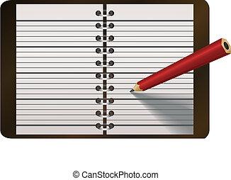 écriture, illustration, vecteur, crayon, agenda