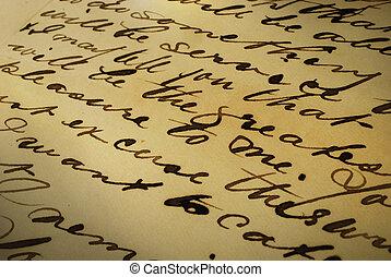 écriture, lettre, vieux