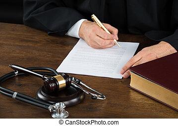 écriture, maillet, stéthoscope, document, bureau, juge