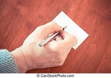 écriture, papier, main, bois, brun, morceau, stylo, table, fontaine