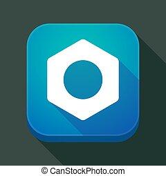 écrou, app, ombre, long, icône